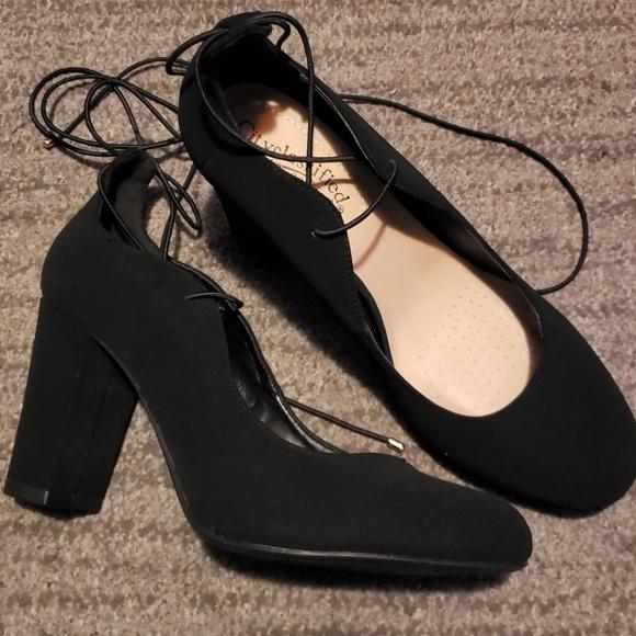 a65217b56a3 Black faux suede ballerina tie up heels